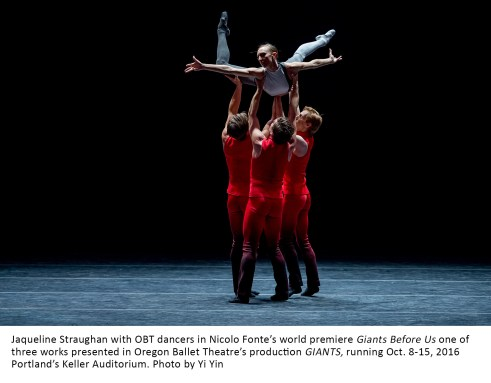 Jaqueline Straughan with OBT dancers in Nicolo Fonte's world premiere Giants Before Us one of three works presented in Oregon Ballet Theatre's production GIANTS, running Oct. 8-15, 2016 Portland's Keller Auditorium. Photo by Yi Yin