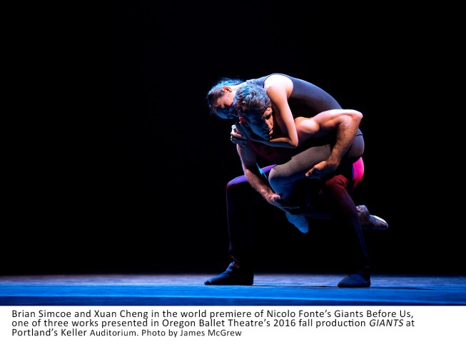 Brian Simcoe and Xuan Cheng in the world premiere of Nicolo Fonte's Giants Before Us, one of three works presented in Oregon Ballet Theatre's 2016 fall production GIANTS at Portland's Keller Auditorium
