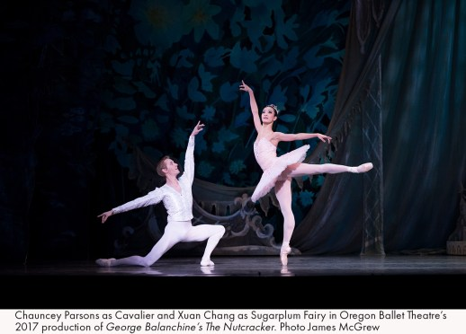 Chauncey Parsons as Cavalier and Xuan Chang as Sugarplum Fairy in Oregon Ballet Theatre's 2017 production of George Balanchine's The Nutcracker. Photo James McGrew