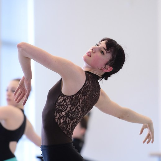 Eva Burton and OBT dancers rehearsing Jiří Kylián's Falling Angels, one of five ballets presented in Oregon Ballet Theatre's MAN/WOMAN, April 12 - 24, 2018 at the Newmark Theatre. Photo by Yi Yin.