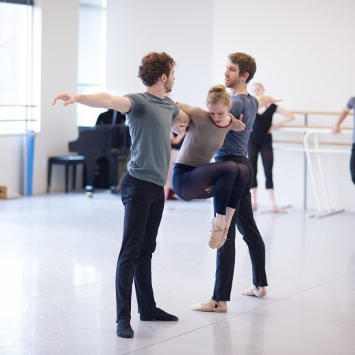 OBT dancers Avery Reiners, Jessica Lind, and Brian Simcoe rehearsing Nicolo Fonte 's Left Unsaid, one of five ballets presented in Oregon Ballet Theatre's MAN/WOMAN, April 12 - 24, 2018 at the Newmark Theatre. Photo by Yi Yin.
