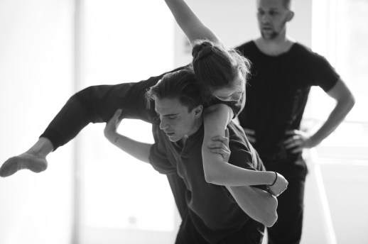Hannah Davis and Adam Hartley rehearsing Peter Franc's world premiere 'Sarkah', one of the many ballets presented in Oregon Ballet Theatre's Closer, May 24 - June 3, 2018 at the BodyVox Dance Center. Photo by Chris Peddecord