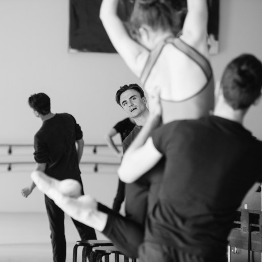 OBT dancers rehearsing Peter Franc's world premiere 'Sarkah', one of the many ballets presented in Oregon Ballet Theatre's Closer, May 24 - June 3, 2018 at the BodyVox Dance Center. Photo by Chris Peddecord