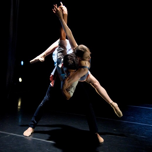 Abigail Diedrich and Theodore Watler performing Katherine Monogue's world premiere 'Saudade', part of Oregon Ballet Theatre's Closer, May 24 - June 3, 2018 at the BodyVox Dance Center. Photo by Randall Lee Milstein