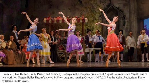 August Bornonville's Napoli, one of two works on Oregon Ballet Theatre's Amore Italiano program, running October 10-17, 2015 at the Keller Auditorium. Photo by Blaine Truitt Covert