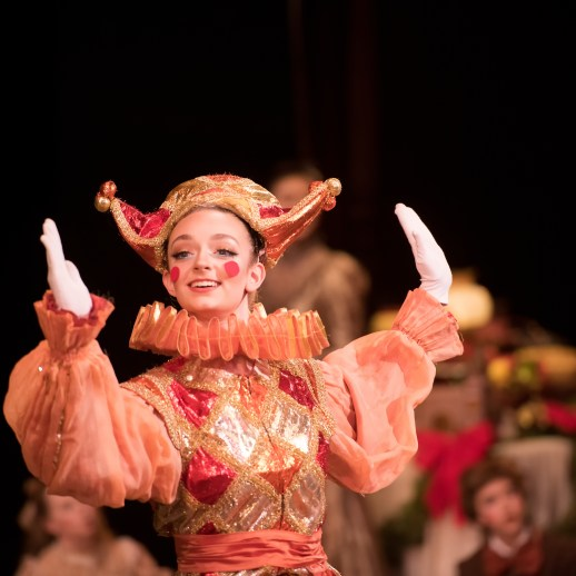 OBT2 dancer, Zuzu Metzler as Harlequin in Oregon Ballet Theatre's 2017 production of George Balanchine's The Nutcracker®. Photo Yi Yin