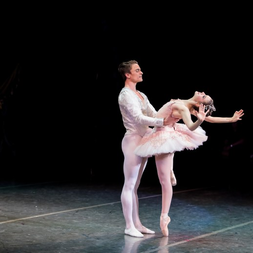 Peter Franc as Cavalier and Kelsie Nobriga as Sugarplum Fairy in Oregon Ballet Theatre's 2017 production of George Balanchine's The Nutcracker®. Photo Yi Yin