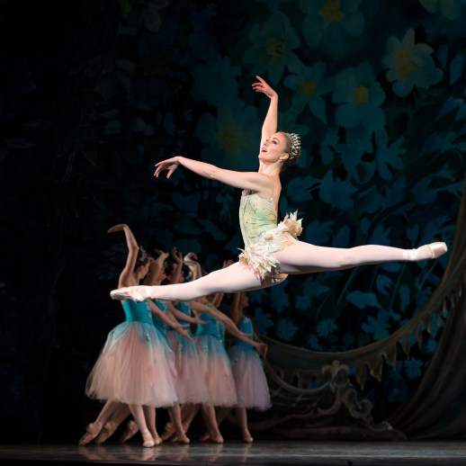 Oregon Ballet Theatre Soloist Candace Bouchard as Dew Drop in OBT's 2017 prduction of George Balanchine's The Nutcracker®. Photo James McGrew