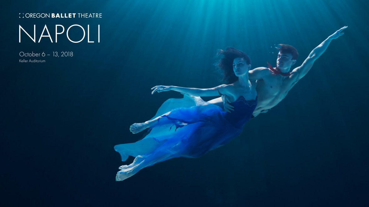Kimberly Fromm and Peter Franc in promotional photo for Oregon Ballet Theatre's performance of Napoli, October 6-13, 2018