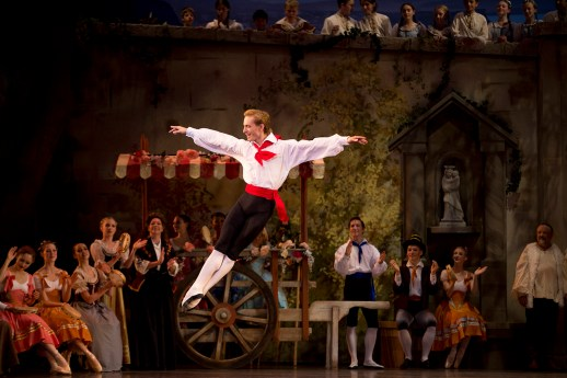 """Chauncey Parsons in the company premiere of August Bournonville's """"Napoli,"""" one of two works on Oregon Ballet Theatre's """"Amore Italiano"""" program, October 10-17, 2015 at the Keller Auditorium. Photo by James McGrew."""