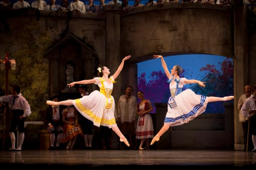 """Amy Watson and Candace Bouchard in the company premiere of August Bournonville's """"Napoli,"""" one of two works on Oregon Ballet Theatre's """"Amore Italiano"""" program, October 10-17, 2015 at the Keller Auditorium. Photo by James McGrew."""