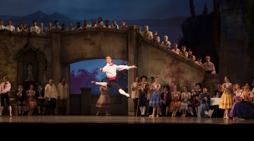 """Brian Simcoe in the company premiere of August Bournonville's """"Napoli,"""" one of two works on Oregon Ballet Theatre's """"Amore Italiano"""" program, October 10-17, 2015 at the Keller Auditorium. Photo by James McGrew."""
