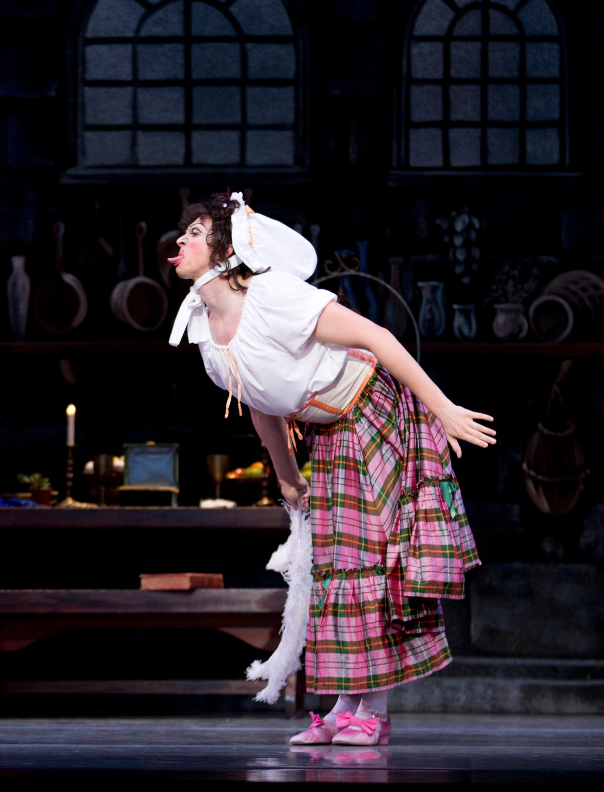 """Brett Bauer (as the """"Ugly Stepsister"""") in the company premiere of Ben Stevenson's Cinderella, running February 28 - March 7, 2015, at Portland's Keller Auditorium. Photo by James McGrew."""