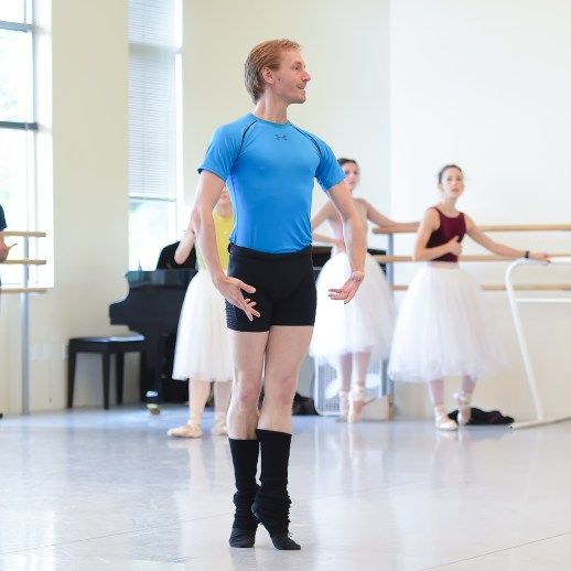 Chauncey Parsons in rehearsal for August Bournonville's Napoli, running October 6-13, 2018 at the Keller Auditorium. Photo by Yi Yin