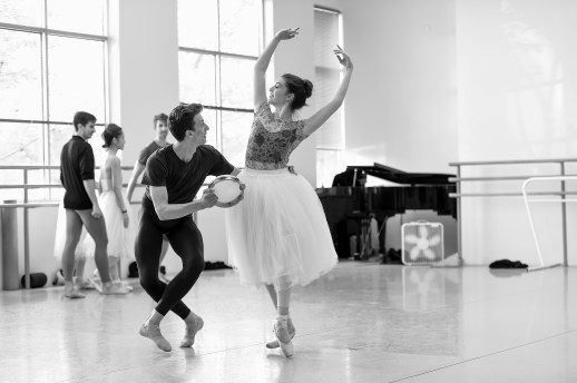 Kelsie Nobriga and Matthew Pawlicki-Sinclair in rehearsal for August Bournonville's Napoli, running October 6-13, 2018 at the Keller Auditorium. Photo by Yi Yin