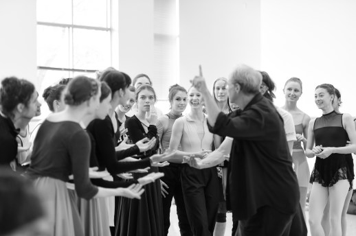 Stager Frank Andersen with OBT and OBT2 dancers, in rehearsal for August Bournonville's Napoli, running October 6-13, 2018 at the Keller Auditorium. Photo by Yi Yin