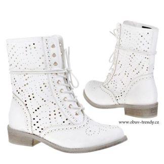 bílé šněrovací boty kotníkové