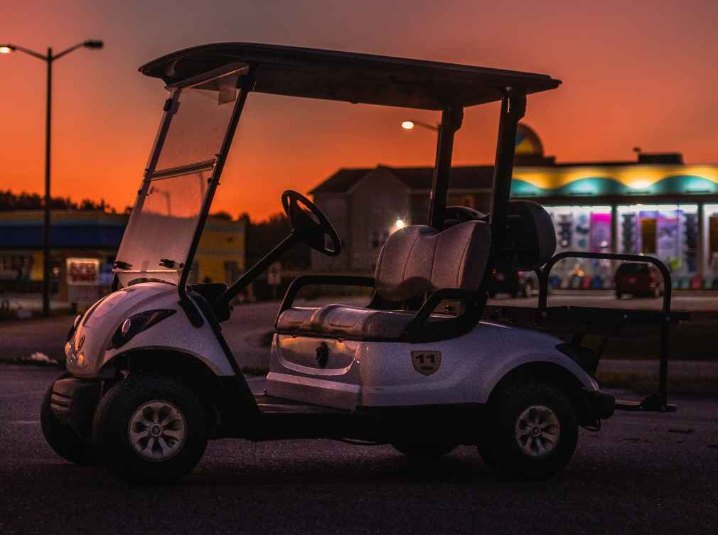 Side Front Sunset View of Golf Cart