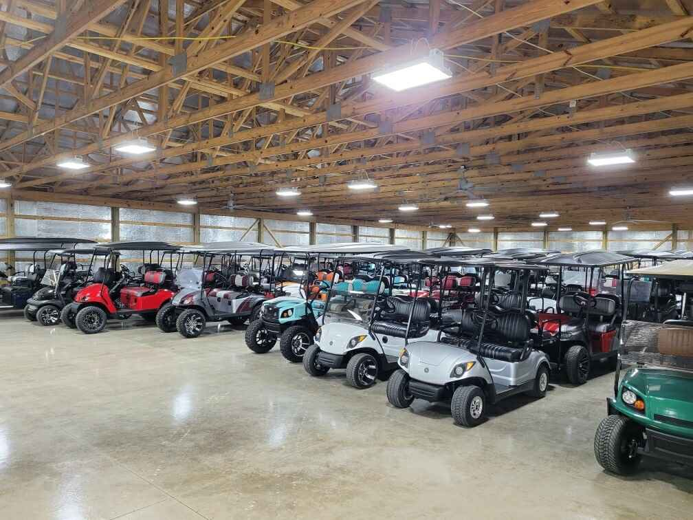 Warehouse full of golf carts