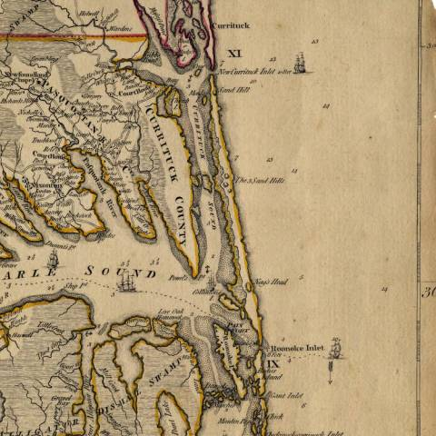 1821 Map Northern Banks   OBX Connection Message Board Top Map  1821   Looks as if the unnamed inlet between the Roanoke Inlet and  the Currituck Inlet could be the Caffey s Inlet  Bottom Map  1775   No  inlet