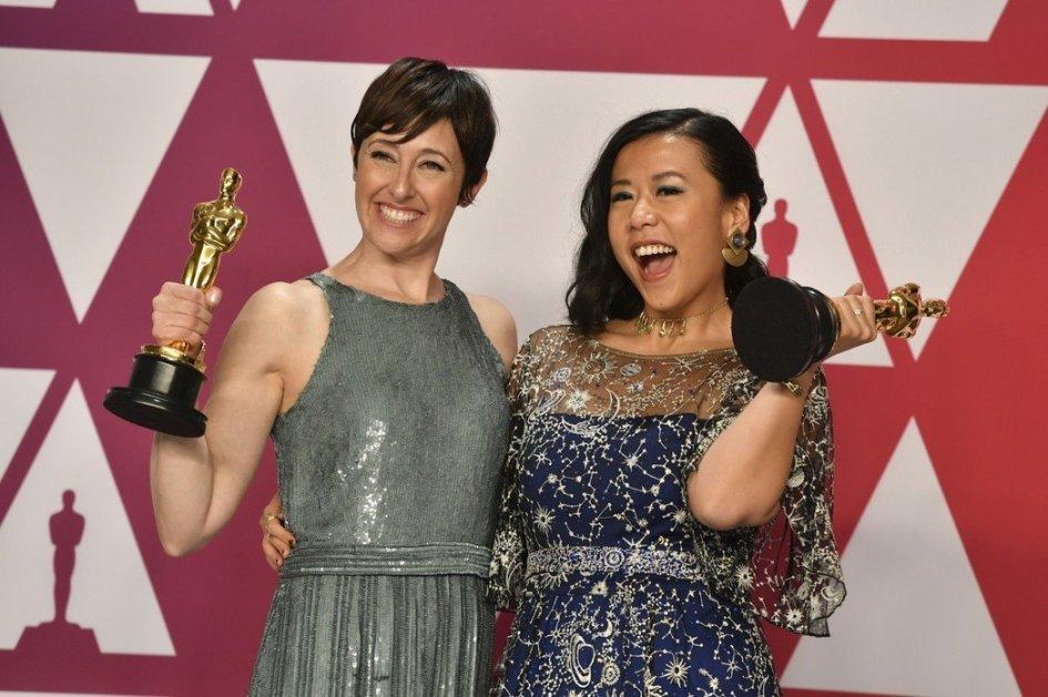 奧斯卡最佳動畫短片獎由「包子」獲得,導演是華人石之予(右)與製作人Becky N
