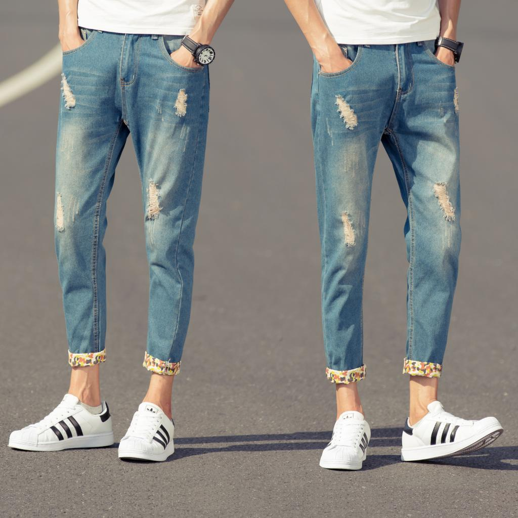 9-new-in-summer-and-autumn-worn-font-b-cuffed-b-font-trousers-mens-stamping-feet