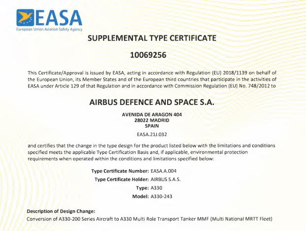 EASA Supplemental Type Certificate (STC) for the A330 MMF aircraft. OCCAR Photo.