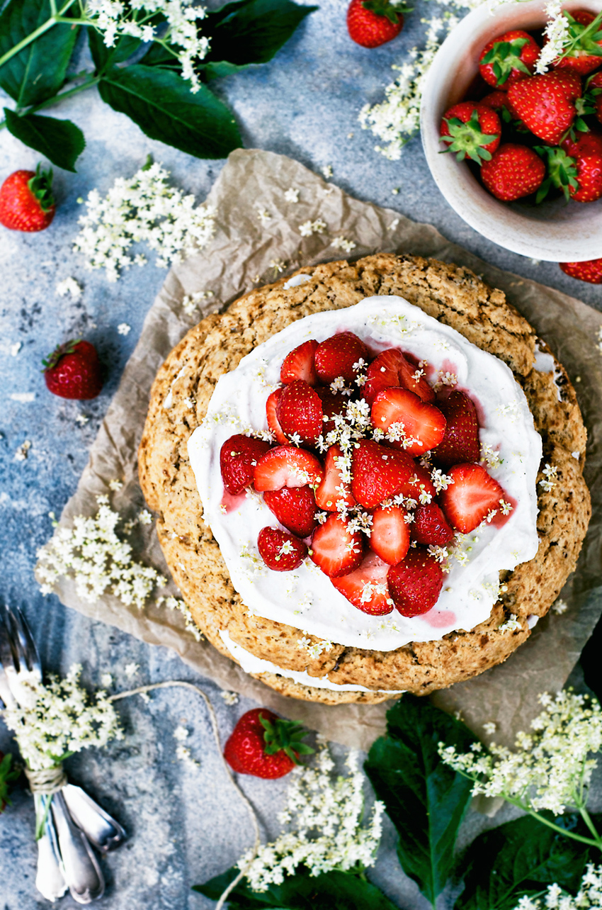 Strawberry Elderflower Scone Cake