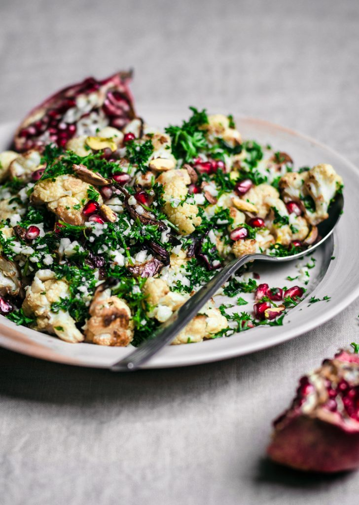 Cauliflower, Pomegranate, and Pistachio Salad | occasionallyeggs.com #ottolenghi #simple #cauliflower