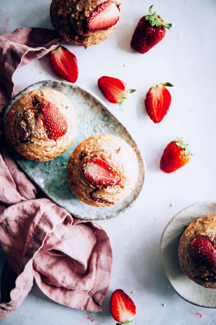 Strawberry topped oatmeal muffins, top view.