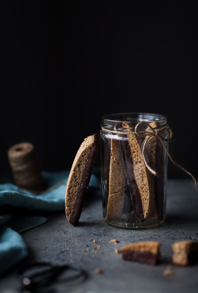 Chocolate Dipped Olive Oil Biscotti