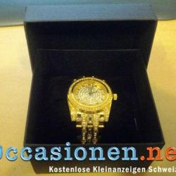 MZI Uhr mit 350 echten SWAROVSKI-STEINEN Goldfarbig