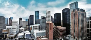 A western view of the downtown Houston skyline