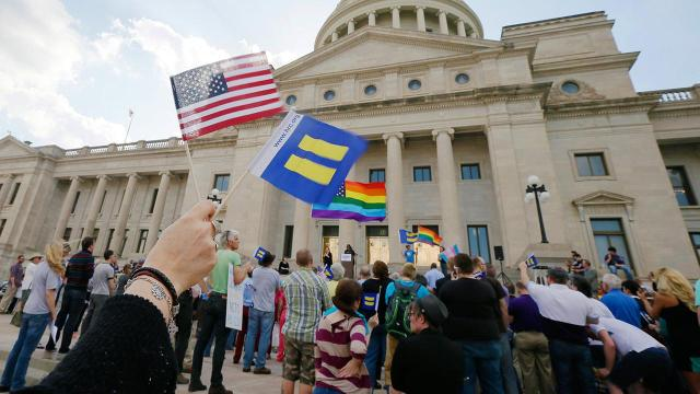 Homosexuals rally in Little Rock to frog march Christians into the closet in Arkansas
