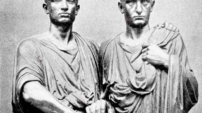 roman gracchi brothers Gracchi - roman politicians the brothers tiberius sempronius gracchus (163–133 bce) and gaius sempronius gracchus (154–121 bce) were roman politicians who tried to wrest power from the oligarchy that dominated the roman republic.
