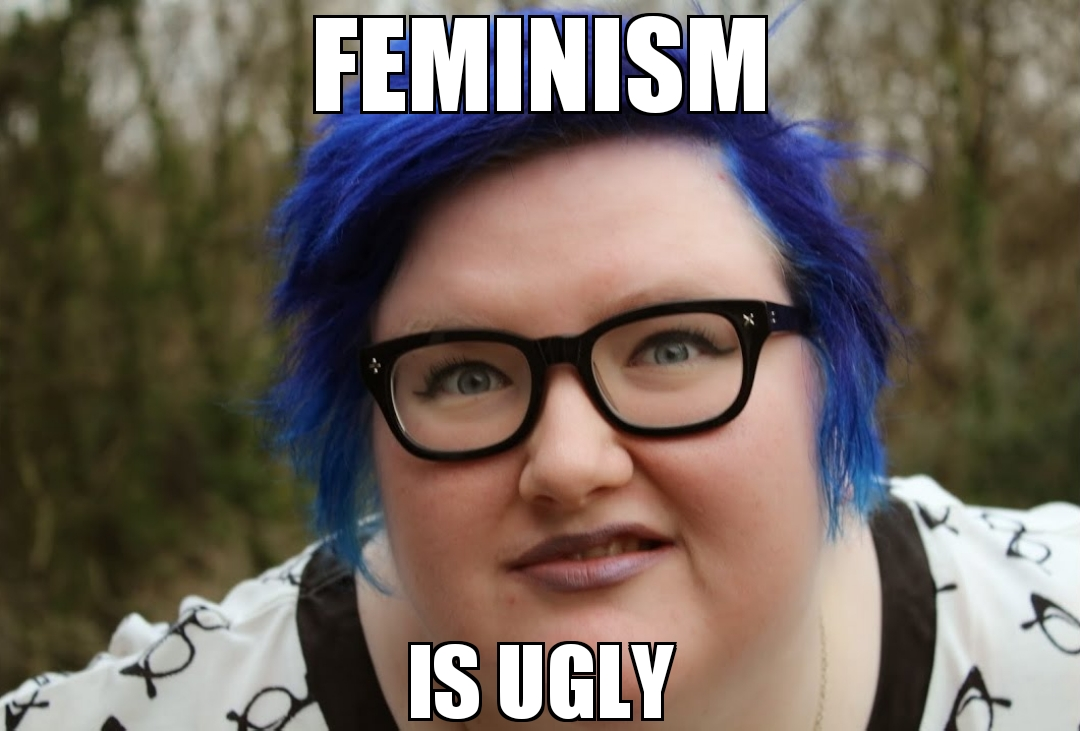 Blue hair fat woman