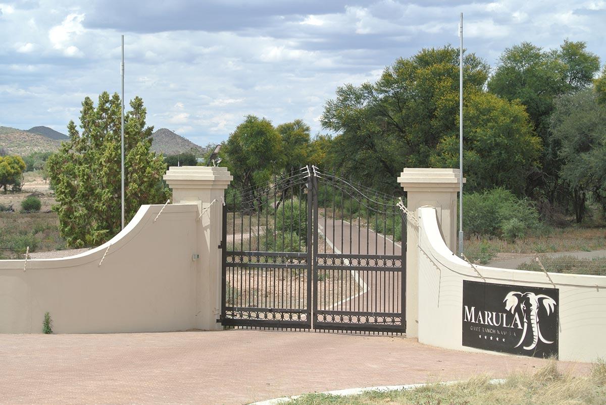 The Entrance to Sardarov's Marula game reservation in Namibia. (Photo: John Grobler)