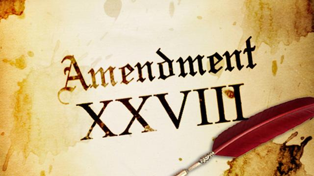 "Picture of an old piece of parchment that says, ""Amendment XXVII"""
