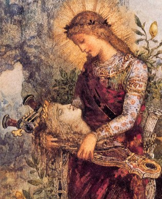 Gustave Moreau - Thracian Girl carrying the Head of Orpheus on his Lyre