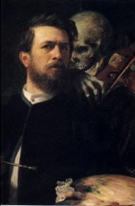 A self-portrait by artist Arnold Bocklin with death playing the violin (1873).