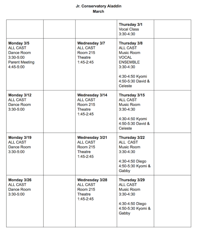 Jr. Conservatory March Schedule