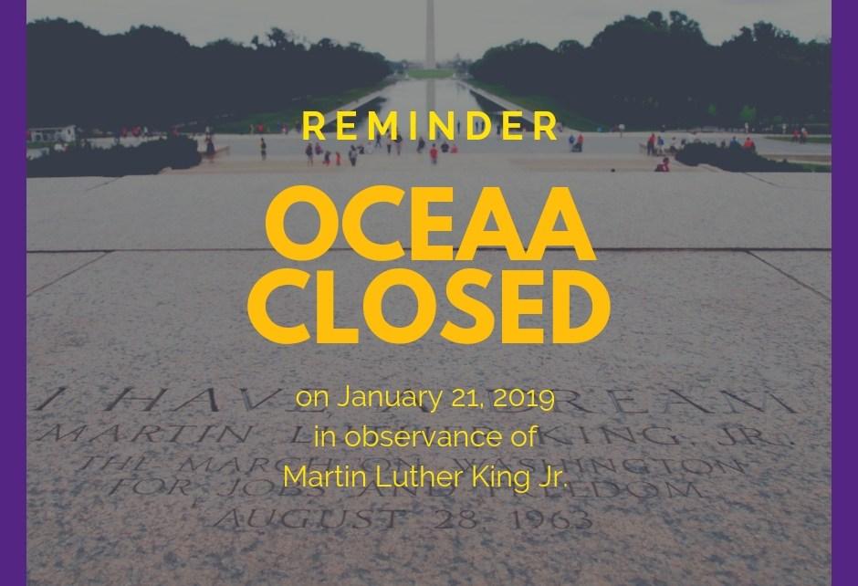 OCEAA closed on MLK day