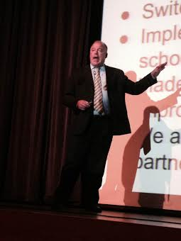 """Hart Public Schools Superintendent Mark Platt presents """"The State of the District"""" Thursday evening in the Hart Middle School Auditorium."""