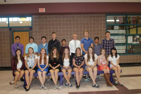 The Shelby High School 2014 Homecoming Court includes (L to R) sophomores Phoenix Flores and Dylan Berens; juniors Sarajane Fortier and Danny Beckman; seniors Ashley Frank and John Carey; seniors Cece McKenzie and Caleb Anderson; seniors Kaitlyn Lentz and Teddy Barco; seniors Julia Near and Austin Priese; seniors Megan Bell and Tommy Henion; freshmen Amy England and Ernie Salgado; and honorary court members/exchange students Shu-ting Chang and Nils Hoffman. - Contributed photo by Lara Kludy