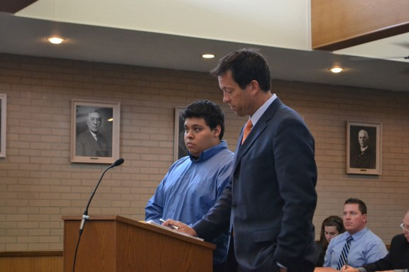 Isisoro Rosas, Jr., at left, with his attorney James Marek.