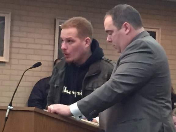 Anthony Aguilera with his attorney, Timothy Hayes.