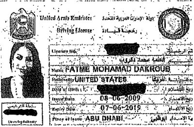 Dakroub's UAE driver's license showing her without head covering.