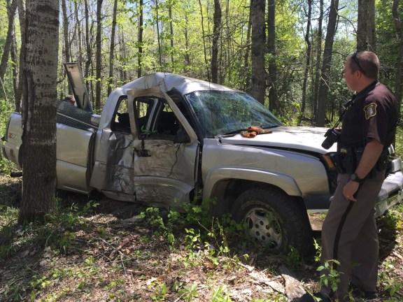 Oceana County Sheiff's Deputy Ryan Schiller at the scene of a crash near Walkerville.