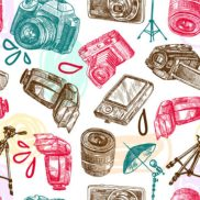 Photo camera digital technology studio equipment hand drawn seamless pattern vector illustration