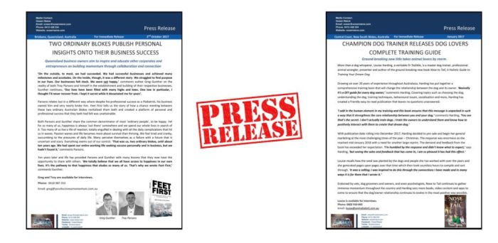 A press release is essential in the promotion of your published book.